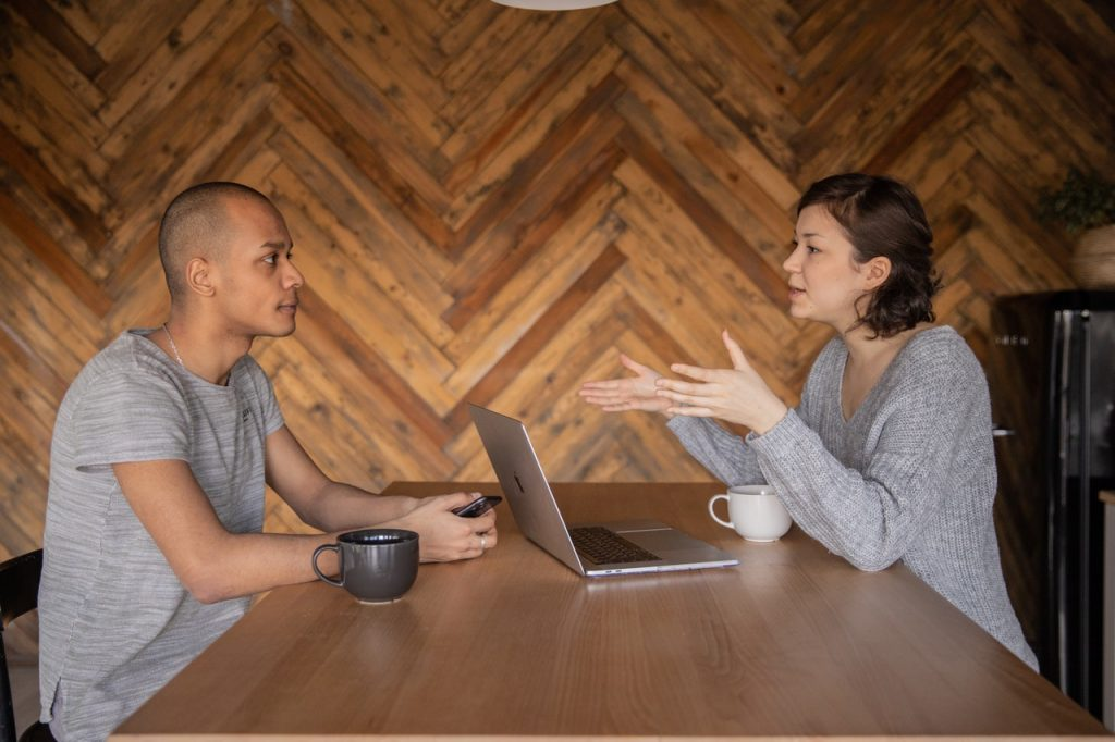 two entrepreneurs in a meeting